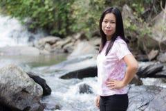 Thai woman with Mae Ya waterfall, Chiangmai Thailand Stock Image