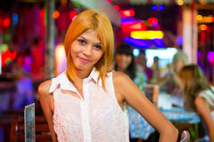 Thai woman in the nightclub of Patong. PATONG, THAILAND - NOV 10:  An unidentified Thai woman in the nightclub of Patong. This neighborhood is famous from the Royalty Free Stock Image