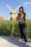 Thai woman and pomeranian with turbine in cosmos field, Muangkaen Royalty Free Stock Photo