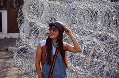 Thai woman portrait with Barbed wire for Defence Stock Images