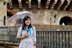 Thai woman portrait holding umbrella while raining at Wakayama M Stock Image