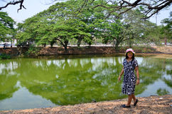Thai woman portrait at beside natural green swamp or nature gree Stock Images