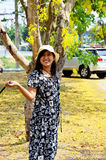 Thai woman portrait at outdoor with golden shower tree Stock Images