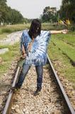Thai woman portrait on railway Royalty Free Stock Photography