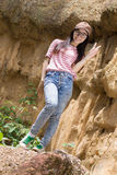 Thai Woman portrait standing near Cliff Stock Photography
