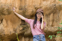 Thai Woman portrait standing near Cliff Royalty Free Stock Images