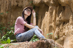 Thai Woman portrait standing near Cliff Royalty Free Stock Photos