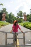 Thai woman portrait at Wat Phra Mahathat chedi Pakdee Prakard Royalty Free Stock Image