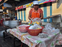 Thai woman selling food in the streets, Thailand Royalty Free Stock Photography