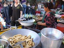 Thai woman selling Thai food, Thailand. Royalty Free Stock Images