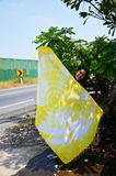 Thai woman show fabric tie batik dyeing yellow natural color Stock Photo