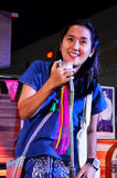 Thai woman singing folk song on stage Royalty Free Stock Photo