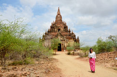 Thai woman staning at Myauk Guni Temple Royalty Free Stock Photo