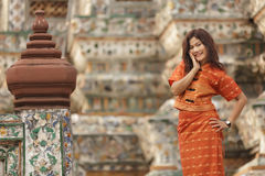 Thai woman in temple Royalty Free Stock Photography