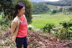 Thai woman with Terraced Rice Field, Pha Mon Chiangmai Thailand Royalty Free Stock Photo