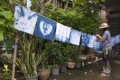 Thai women tie batik dyeing handkerchief indigo color. Thai woman tie batik dyeing handkerchief tie batik indigo color or mauhom color and hanging process dry stock image