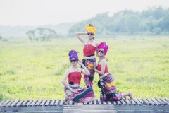 Thai Woman In Traditional Costume thai culture style, Thailand stock image