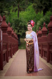 Thai Woman In Traditional Costume. Of Thailand Royalty Free Stock Photo