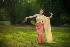 Thai Woman In Traditional Costume Of Thailand. Thai Woman In Traditional Costume Royalty Free Stock Photography