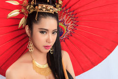 Thai Woman In Traditional Costume Of Thailand stock images