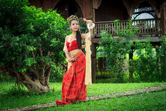 Thai Woman In Traditional Costume. Of Thailand Stock Image