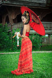 Thai Woman In Traditional Costume. Of Thailand Stock Images
