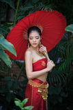 Thai Woman In Traditional Costume Stock Images