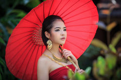 Thai Woman In Traditional Costume Stock Image