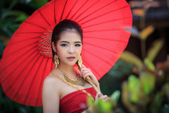 Thai Woman In Traditional Costume Royalty Free Stock Image