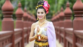 Thai Woman In Traditional Costume Of Thailand stock video