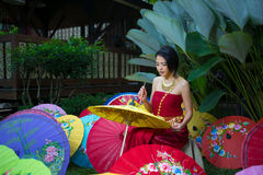 Thai Woman In Traditional Costume. Of Thailand painting umbrella Stock Images