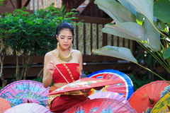 Thai Woman In Traditional Costume. Of Thailand painting umbrella Royalty Free Stock Images