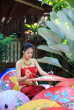 Thai Woman In Traditional Costume. Of Thailand painting umbrella Stock Photo