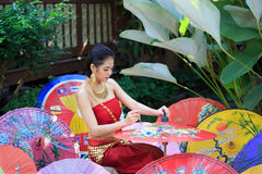 Thai Woman In Traditional Costume. Of Thailand painting umbrella Stock Image