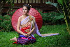 Thai Woman In Traditional Costume stock photos