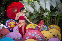 Thai Woman In Traditional Costume Royalty Free Stock Photos