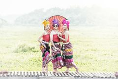 Thai Woman In Traditional Costume with umbrella thai culture st royalty free stock photos