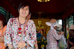 Thai woman travel and portrait at Phra Kal Shrine Stock Photography
