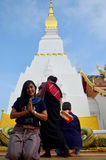 Thai woman travel visit and portrait praying Chedi and buddha st Royalty Free Stock Photography