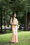 Thai woman wearing typical Thai dress royalty free stock photography