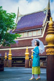 Thai woman wearing typical Thailand traditional dress at house ( Stock Images