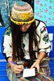 Thai woman writting postcard Stock Photography