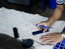 Thai women create and making batik tie dye process paint and drawing stock photography