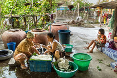 Thai women making rice noodles Stock Photography