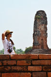 Thai women photography portrait at Ruins Royalty Free Stock Image