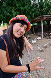 Thai Women portrait at location duck farm in Phatthalung. The domesticated ducks are ducks that are raised for meat, eggs and down. Many ducks are also kept for Stock Image
