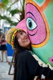 Thai women portrait at santorini amusement park Stock Photos