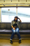 Thai women on Rapid train. Thai woman on Rapid train at Numba station go to Kansai Airport in Osaka, Japan stock images