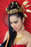 Thai women with red umbrella Royalty Free Stock Photo