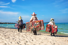Thai women selling beachwear at beach in Koh Samui Stock Photos